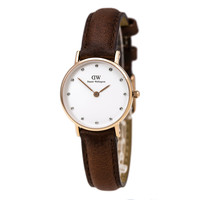 Daniel Wellington 0900DW Women's Classy St. Mawes Crystal White Dial Rose Gold Steel Brown Strap Watch