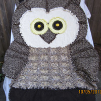 OWL RAG QUILT, African Print ,Handmade, Childs Blanket, Cute Animal Quilt