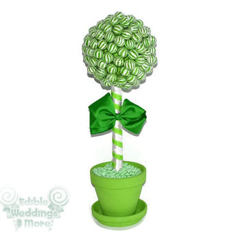 Green Lollipop Topiary, Green Candy Topiary, Green Wedding Centerpiece, Green, Wedding, Centerpiece, Candy Buffet, Lollipop, Candy