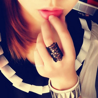 vintage punk style joint armor knuckle ring Bohemian Design Hollow Out Flower Alloy Opening Rings Gold & Black