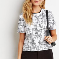 Abstract Print Varsity-Striped Top