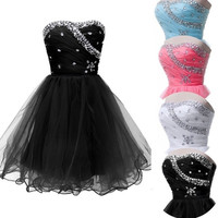 Grace Karin Light Blue/Black/White/Watermelon Strapless Formal Prom Homecoming Gown Ball Girl's Mini Party Short Cocktail Dresses = 1931543364