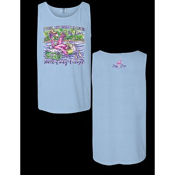 Sassy Frass Floating the River Flamingo Comfort Colors Girlie T-Shirt Tank Top