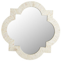 Ivory Mother-of-Pearl Quatrefoil Mirror