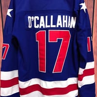 EJ #17 Jack O'Callahan 1980 Miracle On Ice Movie Stitched Hockey Jersey BLUE