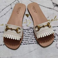 GG Horse Clasp Flat Bottomed Slippers Shoes