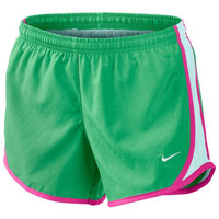 Monogrammed Girls Nike Running Shorts - Green Shorts with White Sides and Rose Trim