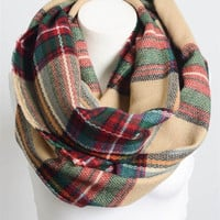 Plaid Frayed Infinity Scarf