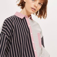 Oversized Striped Contrast Shirt | Topshop