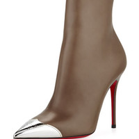 Christian Louboutin Calamijane Red Sole Ankle Boot with Metallic Wing-Tip