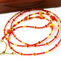 Badge Holder Lanyard, Yellow, Orange and Red Handmade Necklace for ID