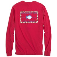 Holiday Skipjack Long Sleeve Tee Shirt in Port Side Red by Southern Tide