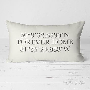 Decorative Lumbar Throw Pillow - Latitude & Longitude Forever Home