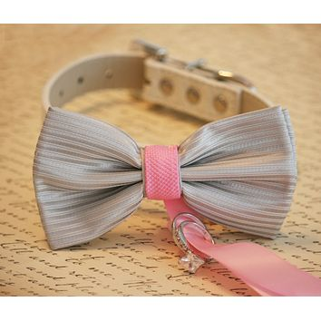 Pink and Silver Dog Bow Tie ring bearer, Pink and Silver Pet Wedding