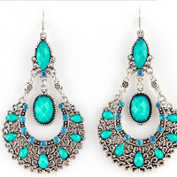 Blue Rhinestone Drop Dangle Earrings