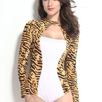 Yellow Tiger Print Long Sleeve Cut-Out Romper Costume