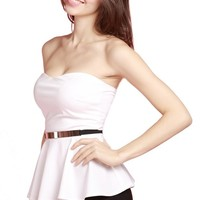 LookbookStore Women Sexy White Neckline Padded Cup Zip Closure Back Pleated Top