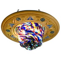 Color Glass Ceiling Synagogue Lamp