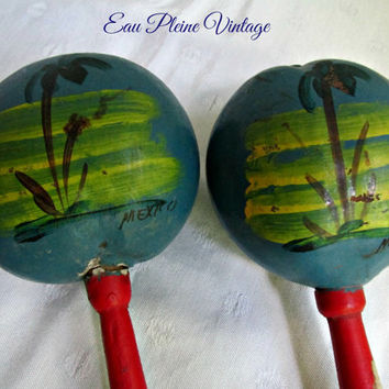 Vintage Mexican Maracas Rumba Shakers Shacshacs Percussion Instrument Handpainted