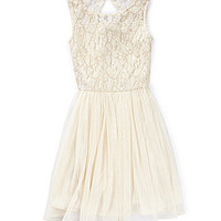 GB Girls 4-6X Lace Bodice Swing Dress - Natural