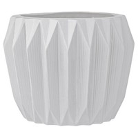 "Ceramic Fluted Flower Pot - White (7"") - 3R Studios"