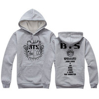 2016 spring hoodies and sweatshirts BTS letter print plus size couple clothes grey red black hooded sport sweatshirt svitshot