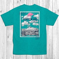 Merican Proper Fish Boat Stamp Sail Sea Ship Turtle Preppy Southern Bright T-Shirt