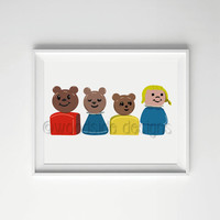 Goldilocks & the 3 Bears - Kid's Print, INSTANT DOWNLOAD, Retro Toy, Nursery Print, Children's Wall Art, Downloadable Print