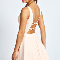 Serena Lace Top Strappy Skater Dress