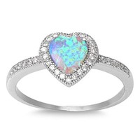 Sterling Silver Created White Opal Heart Ring (Size 4 - 10)