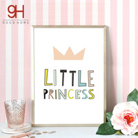 Cartoon Little Princess Quote Canvas Art Print Poster, Wall Pictures for Girl Room Decoration, Giclee Wall Decor FA183-2