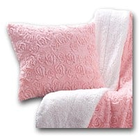 DaDa Bedding Luxury Faux Fur Euro Throw Pillow Cover, Rosey Pastel Cherry Blossom Pink (171752)