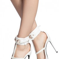 White Faux Leather Caged Ankle Strap Heels @ Cicihot Heel Shoes online store sales:Stiletto Heel Shoes,High Heel Pumps,Womens High Heel Shoes,Prom Shoes,Summer Shoes,Spring Shoes,Spool Heel,Womens Dress Shoes