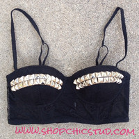 Studded Bustier Longline Bra Crop Top Black Lace - Silver or Gold Studs -