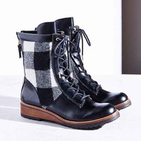 Matt Bernson Windsor Wool Plaid Hiker Boot- Black & White
