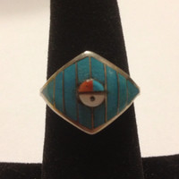 Zuni Turquoise Red Coral Ring Sun Face Sterling Silver Size 7 Jet MOP Vintage Southwestern Tribal Jewelry Christmas Birthday Gift
