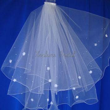 Veil, Bridal veils, Wedding Veil, Circular veil,  Waist length veil with pearls & silk flowers