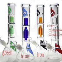 New design Glass water pipes glass bong with gear perc have mix colors ( same as the pictures )