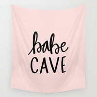 Pink and black babe cave typography Wall Tapestry by allyjcat