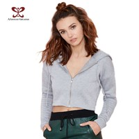 Spring tracksuit for Women Crop Tops Long Sleeve Gray Cotton Hoodies Casual Short Active Sweatshirts Cropped Hoodie 668
