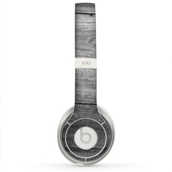 The Gray Worn Wooden Planks Skin for the Beats by Dre Solo 2 Headphones