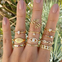 Vintage Adjustable Fashion Ring Set For Women Combined Gold Geometric Crystal Opal Rings Female Party Jewelry Gift