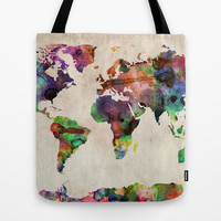World Map Urban Watercolor Tote Bag by ArtPause