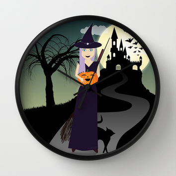 Cute Halloween Witch With Happy Pumpkin And Black Cat Wall Clock by PLdesign | Society6