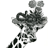 Giraffe in flower hat original art print jungle safari animal kids room nursery