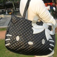 Hello Kitty Travel Weekend Diaper Tote Bag Include a Small Purse Wash Bath Containing Bag Drawstring Storage Bag , Black