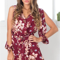 Red Wine Floral Tied Long Sleeve Romper