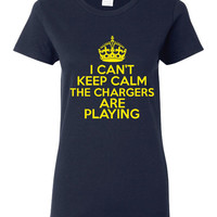I Can't keep Calm The Chargers Are Playing Tshirt. San Diego Chargers Ladies and Unisex Styles. Great Gift Ideas.
