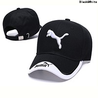 PUMA Summer Popular Women Men Embroidery Sports Sun Hat Baseball Cap Hat Black&White