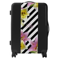Lily Flowers Black and White Striped Pattern Luggage